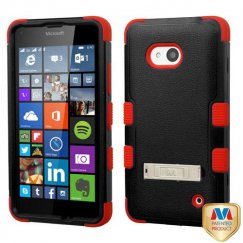 Nokia Lumia 640 Natural Black/Red Hybrid Case with Stand