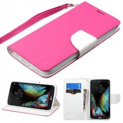 LG K10 Hot Pink Pattern/White Liner wallet with Lanyard