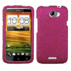 HTC One X Hot Pink Diamante Case
