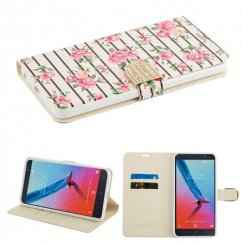 ZTE Blade Z Max / Sequoia Z982 Pink Fresh Roses Diamante Wallet with Diamante Belt