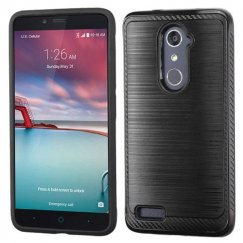 ZTE Grand X Max 2 Black/Black Brushed Hybrid Case with Carbon Fiber Accent
