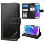 Samsung Galaxy Note 5 Black Genuine Leather D'Lux Wallet with Button Closure