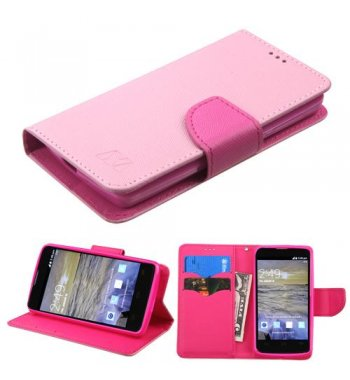 ZTE Uhura N817 Pink Pattern/Hot Pink Liner Wallet with Card Slot