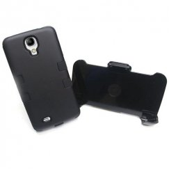 Samsung Galaxy S4 Rubberized Black/Black Hybrid Case with Black Holster