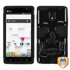 LG Optimus L9 Solid Black/Black Skullcap Hybrid Case