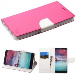 ZTE Grand X Max 2 Hot Pink Pattern/White Liner wallet with Card Slot
