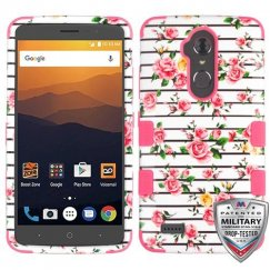 ZTE Blade Max 3 / Max XL Pink Fresh Roses/Electric Pink Hybrid Case Military Grade