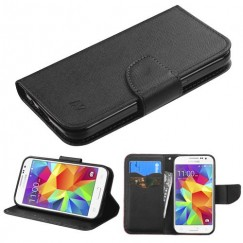Samsung Galaxy Core Prime Black Pattern/Black Liner wallet with Card Slot
