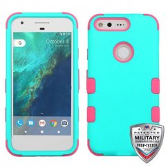 Google Pixel XL Rubberized Teal Green/Electric Pink Hybrid Case - Military Grade