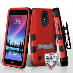 LG K10 Natural Red/Black Hybrid Case with Stand Military Grade with Black Horizontal Holster