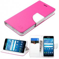 Kyocera Hydro Reach / Hydro View Hot Pink Pattern/White Liner wallet with Card Slot