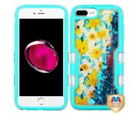 Apple iPhone 7 Plus Natural Teal Green/Spring Daffodils & Dark Blue Hearts Quicksand Glitter Hybrid Protector Cover