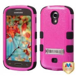 Samsung Galaxy Light Natural Hot Pink/Black Hybrid Case with Stand
