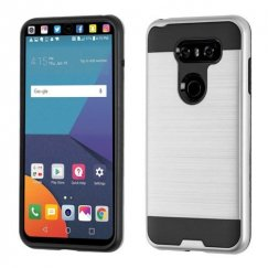 LG V30 Silver/Black Brushed Hybrid Case