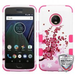 Motorola Moto G5 Plus Spring Flowers/Electric Pink Hybrid Case Military Grade