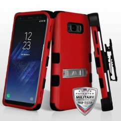 Samsung Galaxy S8 Natural Red/Black Hybrid Case with Stand Military Grade with Black Horizontal Holster