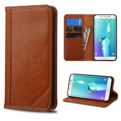 Samsung Galaxy S6 Edge Plus Brown Genuine Leather Wallet