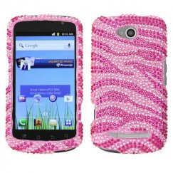 Coolpad Quattro 4G Zebra Skin Pink/Hot Pink Diamante Case