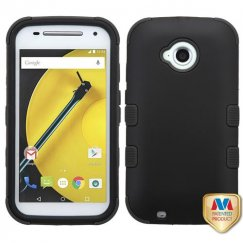 Motorola Moto E 2nd Gen Rubberized Black/Black Hybrid Case