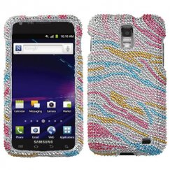 Samsung Galaxy S2 Skyrocket Colorful Zebra Diamante Case