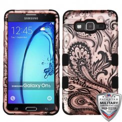 Samsung Galaxy On5 Phoenix Flower 2D Rose Gold/Black Hybrid Case