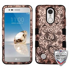 Black Four-Leaf Clover (2D Rose Gold)/Black Hybrid Phone Protector Cover [Military-Grade Certified]