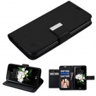 LG K7 Black/Black PU Leather Wallet with extra card slots