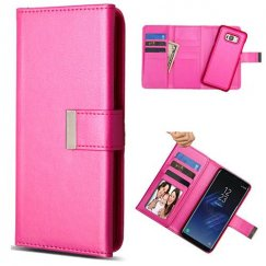 Samsung Galaxy S8 Plus Hot Pink Detachable Magnetic 2-in-1 Wallet(PC case Leather Folio)