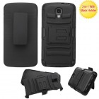 LG LS740 Volt Black/Black Advanced Armor Stand Case with Black Holster