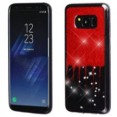 Samsung Galaxy S8 Plus Red Glittering & Silver Stars (Black) Krystal Gel Series Candy Skin Cover