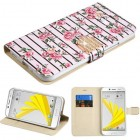 HTC Bolt Pink Fresh Roses Diamante Wallet with Diamante Belt