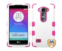 LG Leon H345 Natural Cream White/Hot Pink TUFF Hybrid Phone Protector Cover