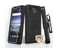 Black/Black 3-in-1 Kinetic Hybrid Case Combo (with Black Holster)(Tempered Glass Screen Protector)