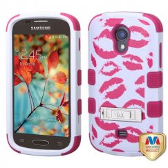 Samsung Galaxy Light Kisses/Hot Pink Hybrid Case with Stand