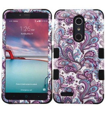 ZTE Grand X Max 2 Purple European Flowers/Black Hybrid Phone Protector Cover