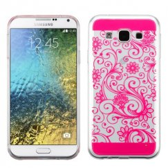 Samsung Galaxy E5 Hot Pink four-leaf Clover Candy Skin Cover