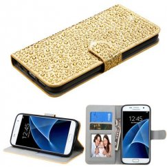 Samsung Galaxy S7 Gold Diamante Wallet