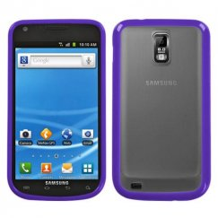 Samsung Galaxy S2 Transparent Clear/Solid Purple Gummy Cover