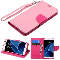 Samsung Galaxy S7 Pink Pattern/Hot Pink Liner Wallet with Lanyard