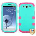 Samsung Galaxy S3 Rubberized Teal Green/Electric Pink Hybrid Case