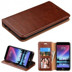 LG K10 Brown Wallet with Tray