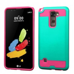 LG G Stylus 2 Teal Green/Hot Pink Brushed Hybrid Case