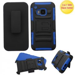 HTC One M9 Black/Dark Blue Advanced Armor Stand Case with Black Holster