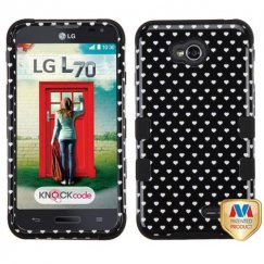 LG Optimus L70 Black Vintage Heart Dots/Black Hybrid Case