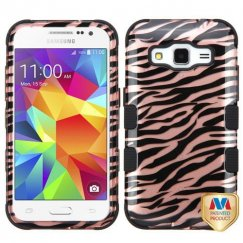 Samsung Galaxy Core Prime Zebra Skin/Black 2D Rose Gold/Black Hybrid Case