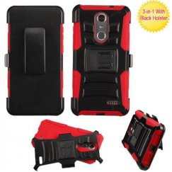 ZTE Grand X 4 Black/Red Advanced Armor Stand Case Combo with Black Holster