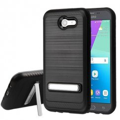 Samsung Galaxy J3 Black Brushed & Carbon Fiber Accent/Black Hybrid Case with Magnetic Metal Stand
