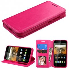 Alcatel One Touch Conquest Hot Pink Wallet with Tray