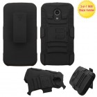 Motorola Moto G 2nd Gen Black/Black Advanced Armor Stand Protector Cover (With Black Holster)