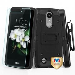 LG K8 Black/Black 3-in-1 Kinetic Hybrid Case Combo with Black Holster and Tempered Glass Screen Protector